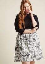 ModCloth Fright on Track Cotton A-Line Skirt in M