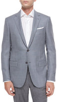 Ermenegildo Zegna Mini-Check Two-Button Wool Jacket, Gray/Blue