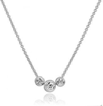 Mondevio Diamond-Cut 4mm & 6mm Sliding Beads Necklace in Sterling Silver