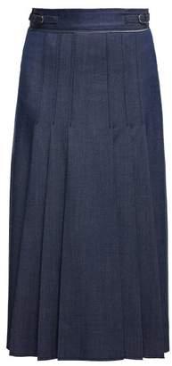 Gabriela Hearst Windsor Denim Effect Wool Blend Skirt - Womens - Indigo