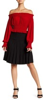 Norma Kamali Pleated Pinstripe Skirt