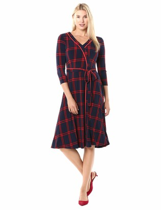 Chaus Women's 3/4 Sleeve Plaid Wrap Dress