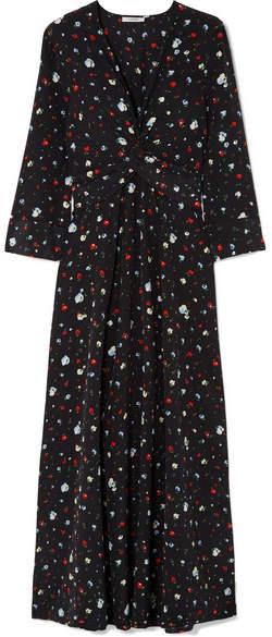Ganni Nolana Twist-front Floral-print Silk Crepe De Chine Maxi Dress - Black