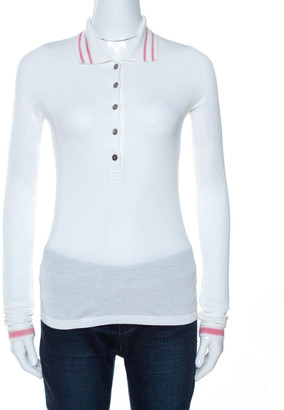 Chanel White Pique Knit Polo Long Sleeve T-Shirt S