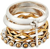 Lucky Brand Cross Two-Tone Ring Stack