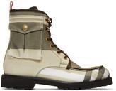 Moncler Gamme Bleu Khaki Cargo Lace-up Boots