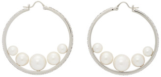 Miu Miu Silver Crystal and Pearl Hoop Earrings