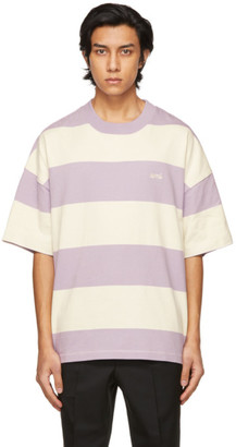 Ami Alexandre Mattiussi Purple and Off-White Striped Rugby T-Shirt
