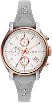 Fossil Women's Chronograph Original Boyfriend Gray Leather Saddle Strap Watch 38mm ES4045