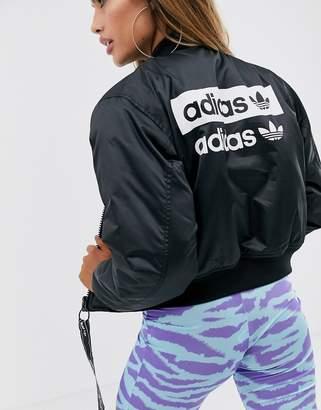 adidas cropped bomber jacket in black