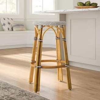 "Beachcrest Home Campbellton Counter & Bar Stool Seat Height: Counter Stool (24"" Seat Height), Color: Blue/White"