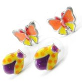 Noa Duo earings 'french touch' 'Vahiné' purple orange-yellow.