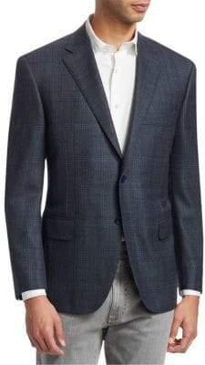 Canali Windowpane Plaid Wool Sportcoat
