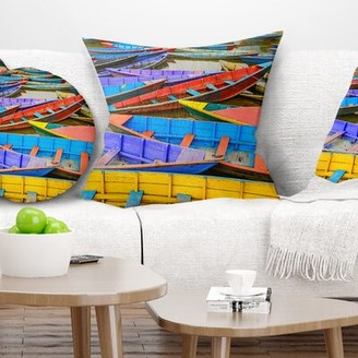 """Old Colorful Sailboats in Lake Pillow East Urban Home Size: 16"""" x 16"""", Product Type: Throw Pillow"""