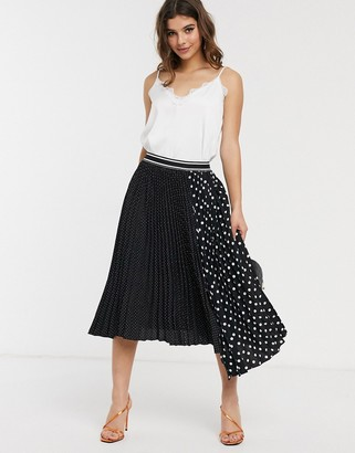 Outrageous Fortune contrast print pleated midi skirt in multi polka