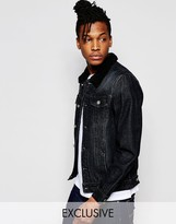 Liquor & Poker Borg Collar Denim Jacket In Washed Black