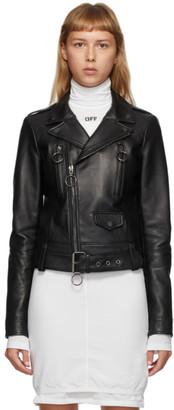 Off-White Black Leather Biker Jacket