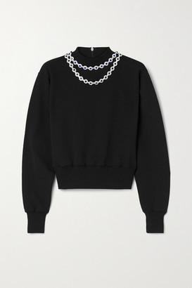 Christopher Kane Crystal-embellished Cotton-jersey Sweatshirt - Black