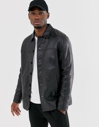 Barneys New York Barneys Originals reefer leather jacket