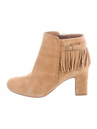Tabitha Simmons Suede Fringe Trim Accent Boots