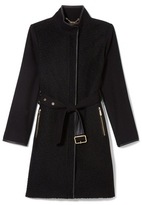 Vince Camuto Faux Leather-trim Belted Coat