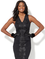 New York & Co. 7th Avenue - Scroll-Embroidered Sleeveless Top