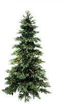 Asstd National Brand 10' Pre-Lit New England Pine Medium Artificial Christmas Tree With Pine Cones with Clear Lights