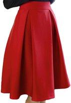 Vikoros Women's High Waisted Pleated Skirt A Line Midi Skirt