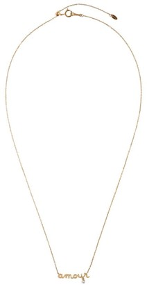 PERSÉE Yellow Gold and Diamond Around the Words Mama Necklace