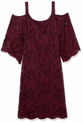 Robbie Bee Women's Cold Shoulder lace Bell Sleeve Dress