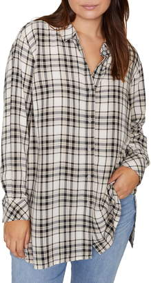 Sanctuary Stone Plaid Tunic Shirt