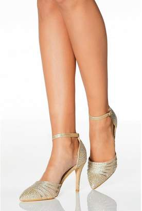 Quiz Gold Diamante Strappy High Heel Court Shoes