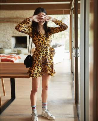 The Kooples Short wrap dress with Ghost Leopard print