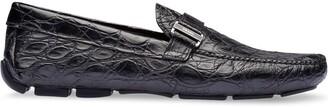 Prada Crocodile Leather Loafers