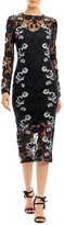 Nicole Miller Trellis Embroidery Long Sleeve Dress
