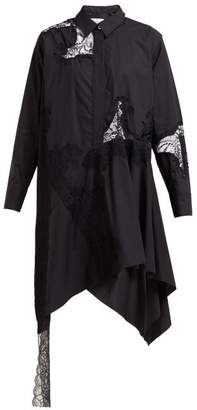 Marques Almeida Marques'almeida - Lace-insert Cotton Shirtdress - Womens - Black