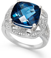Macy's London Blue Topaz (7 ct. t.w.) and Diamond (1/7 ct. t.w.) Ring in Sterling Silver