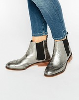 Dune Quentin Pewter Metallic Leather Brogue Chelsea Boots