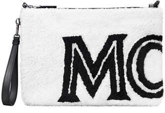 MCM Medium Contrast Logo Shearling Pouch Bag
