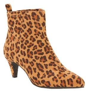 Melrose Ave Vegan Suede Leopard Slip-on Kitten Heel Bootie (Women's)