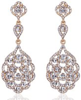 Brand New Gold Wedding Jewelry Crystal Bridal Dangle Earrings, Linked Earrings For Women or Bridesmaids