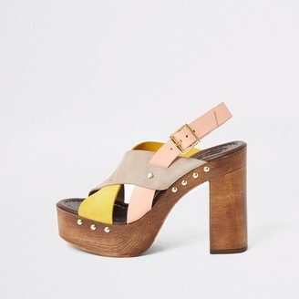 River Island Womens Yellow leather cross strap platform sandals