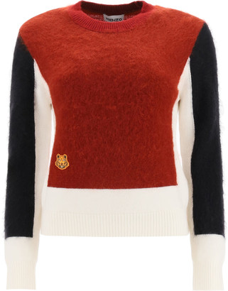 Kenzo Colour-block Mohair Wool Sweater