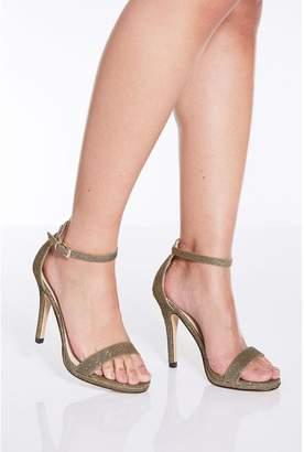 Quiz Bronze Shimmer Heeled Sandals