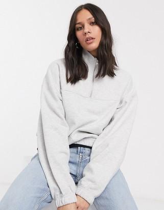 Weekday Lou half-zip sweatshirt in grey melange