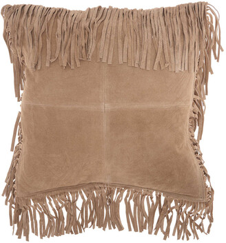 Nourison Mina Victory Couture Natural Hide Fringe Borders Throw Pillow