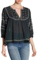 Lucky Brand Soft Embroidered Folk Blouse