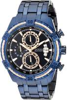 GUESS GUESS? Men's U0522G3 Iconic Blue & Rose Gold-Tone Stainless Steel Chronograph Watch with Date Function