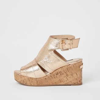 River Island Rose gold metallic open toe wedge sandals