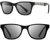Shwood Men's 'Canby - Newspaper' 54Mm Polarized Sunglasses - Black Newspaper/ Dark Grey